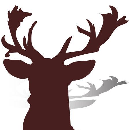 Hoofd van een hertclose-up, bruin silhouet op een witte achtergrond, vector