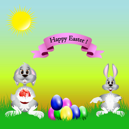 Easter cartoon illustration, a hare and a dog are sitting on the grass where the colored eggs lie, on a natural background, vector