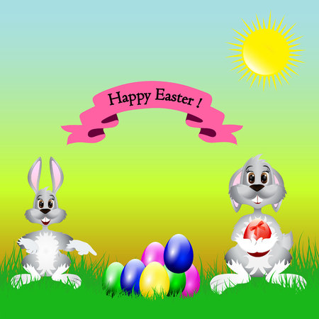 Easter cartoon illustration, a hare and a dog are sitting on the grass where the colored eggs lie, on a natural background, Stock Photo