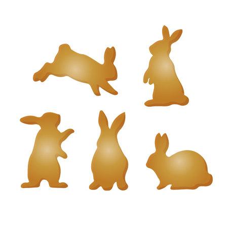Sammlung von braunen Kaninchen, Schattenbild-Karikatur auf weißem Hintergrund, Vektorillustration. Vektorgrafik