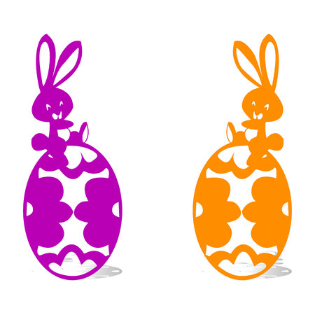 Two happy hare sitting on Easter eggs, silhouette on white background, vector illustration. Illustration