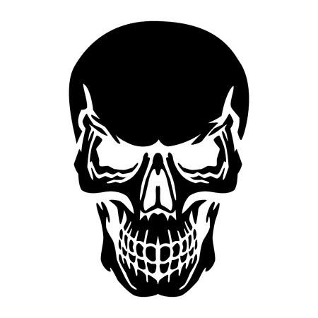 Black skull silhouette, on white background, vector Vectores