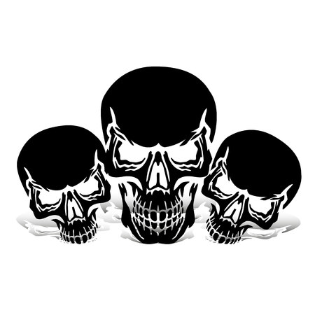 Three black skulls, silhouette with shadow, on white background, vector