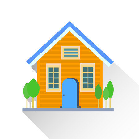 Yellow house-building, flat style on a white clean background with trees, vector
