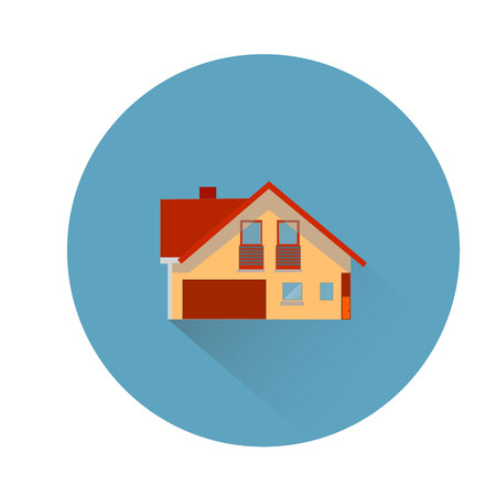 Brown house in round blue icon for site, flat style, on white background, vector