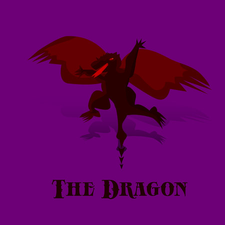 Cartoon black night dragon with red wings in flight, on purple background, vector