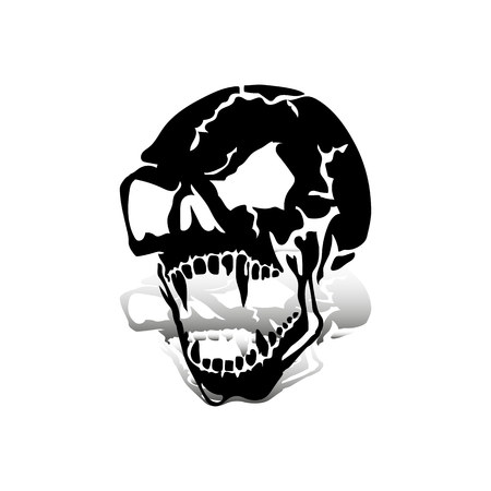 Aggressive skull with open jaw, black silhouette with shadow on white background, vector
