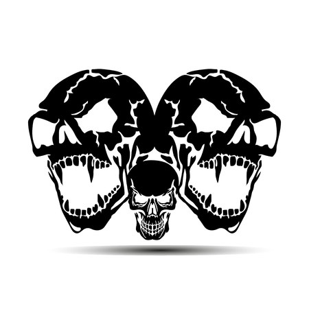 Three Aggressive Skulls with open jaw, black silhouette with shadow on white background, vector Illustration