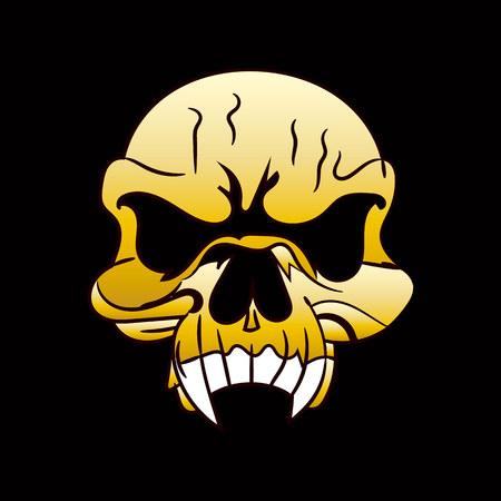 Skull golden, caricature on black background, vector