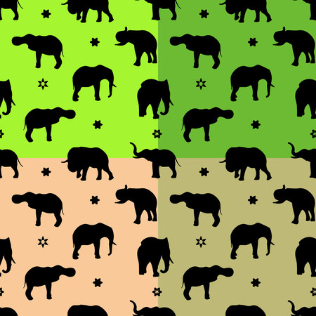 Collection Seamless pattern, silhouette of the indian black elephant, vector