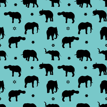 Seamless pattern, silhouette of a black elephant on a light blue background, vector