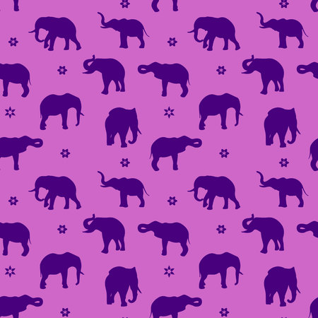 Seamless pattern, silhouette blue elephant on purple background, vector