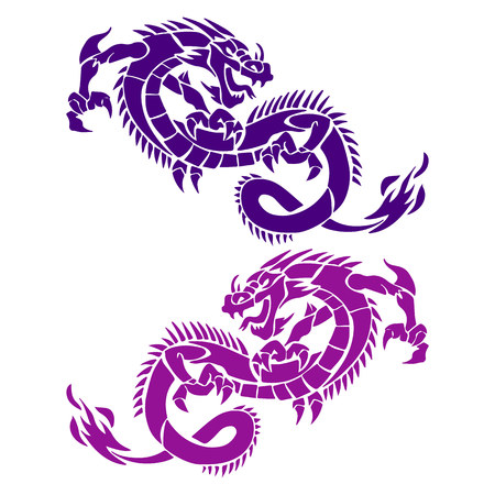 Two dragons blue and violet, silhouette on white background, vector Vettoriali