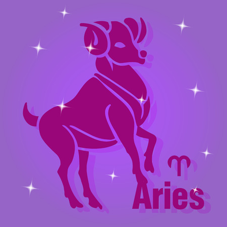 A square banner.Zodiac sign Aries, purple red on purple background and stars, vector Vettoriali