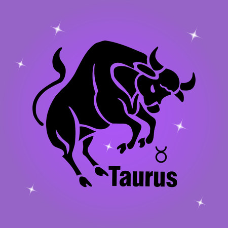 A square banner.Zodiac sign Taurus, black on purple background and stars, vector Illustration