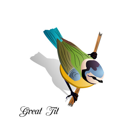 Bird on a branch, cartoon on a white background, vector. 版權商用圖片 - 100151487