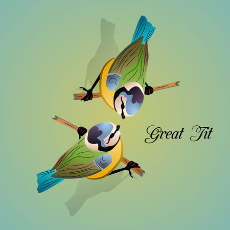 Two birds on a branch, banner on a light blue background, vector.