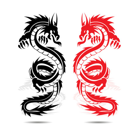 Two dragons red and black, in fight, silhouette on white background, vector