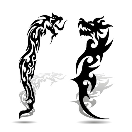 Two black dragon silhouette with shadow on white background, vector