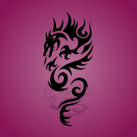 Black dragon silhouette with shadow on a purple background, vector Ilustração