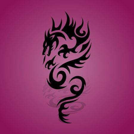 Zwarte draak silhouet met schaduw op een paarse achtergrond, vector