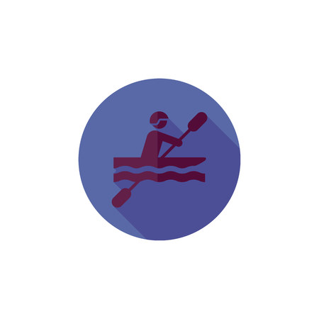 Round blue sports icon, rowing in a flat style, man in a boat, silhouette of a purple color. Illustration