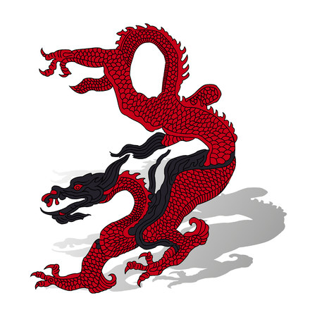Red dragon with shadow, cartoon on white background, vector Ilustração