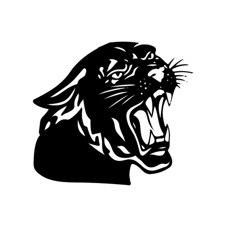 Aggressive black panther with open mouth, silhouette on white background, vector