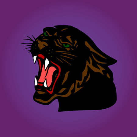 Aggressive Black Panther with open mouth, cartoon on a purple background, vector