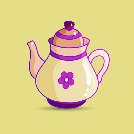 Teapot (jug-shaped) with a purple pattern, cartoon-porcelain, on a light brown background, vector Çizim