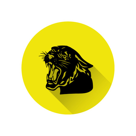 Black panther with crown on his head and open mouth, yellow round icon in a flat style on a white background, vector Illustration