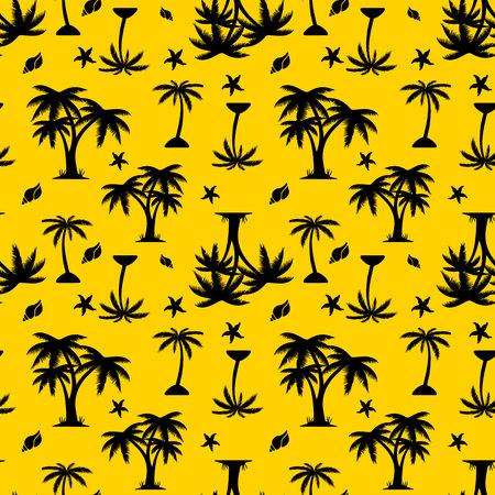 Patrón transparente, silueta negra, palmera y conchas sobre fondo amarillo, vector