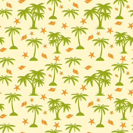 Seamless pattern, palm tree and seashells on beige background, vector Illustration