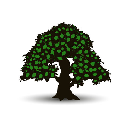 Big tree with green leaves in summer, cartoon on white background, vector Foto de archivo - 102489399