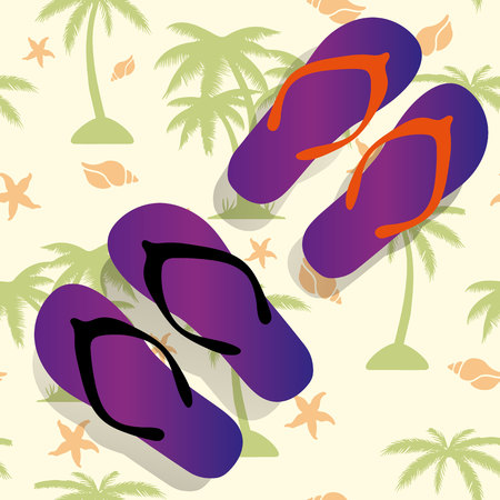 A pair of purple sandals for the beach, against the background of palm tree and sea shell, vector