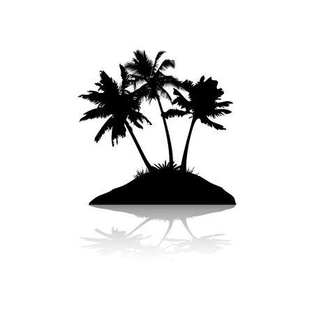 Silhouette with shadow, island with three palm trees, on white background, vector
