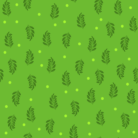 Seamless pattern, green twig with leaves, on a light green background, summer design, vector