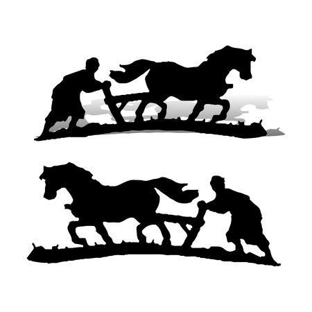 Landwirt pflügt das Land, auf einem Pferd, Silhouette auf einem weißen Hintergrund, Vektor
