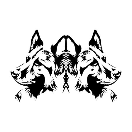Abstract dog silhouette, GERMAN SHEPHERD, on white background, vector Stock Illustratie