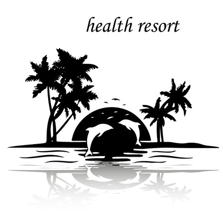 Resort island by the sea, sunset jumping dolphins, silhouette on white background, vector