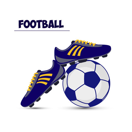 Soccer ball and dark blue football boots, on white background, vector Illustration