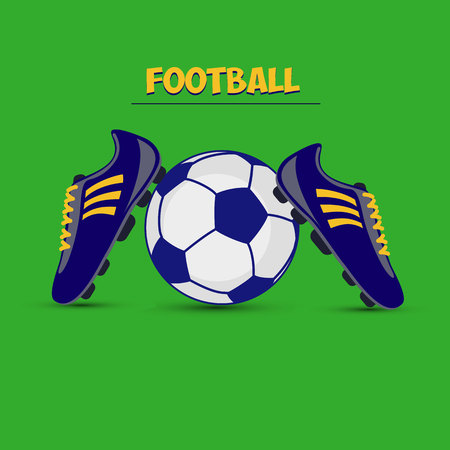Soccer ball and dark blue football boots on a green background, vector Foto de archivo - 113541112