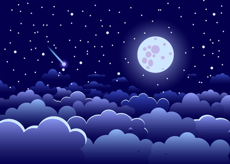 Night sky with clouds and stars, and the full glowing moon, landscape dark blue, vector