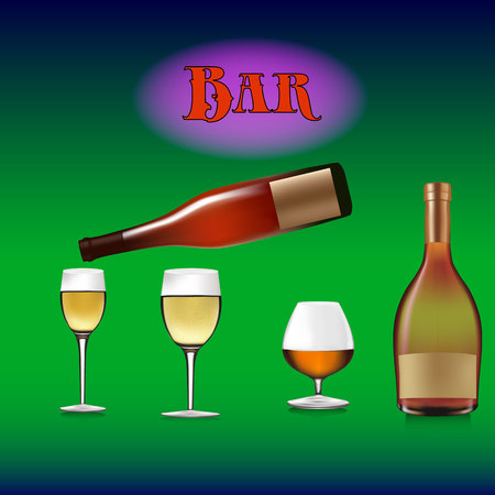 Banner for a bar, bottles of alcoholic drinks and wine glasses, wine pours into a wine glass, cartoon on a green gradient background, Stock Photo