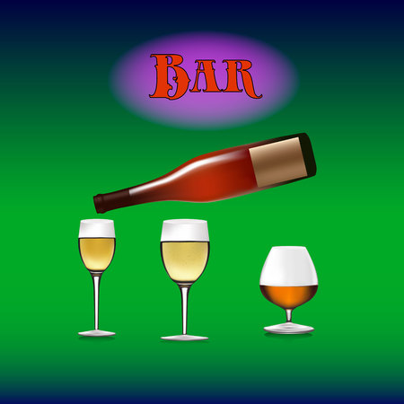 Banner for a bar, bottle of wine pours into a wine glass, cartoon on a green gradient background,