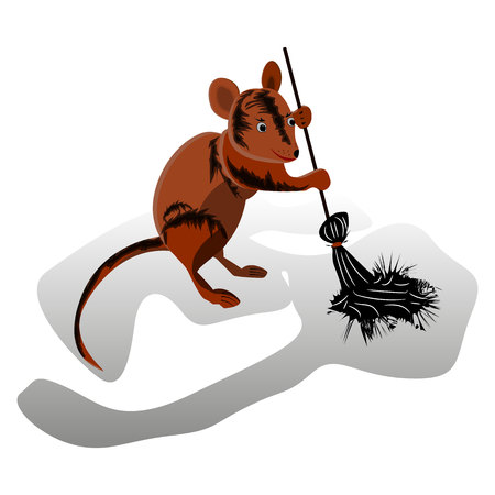 Brown mouse sweeps a broom, cleaning territory, character on a white background, vector