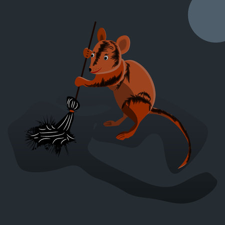 Mouse sweeps broom, cleaning territory, character on dark gray background, vector