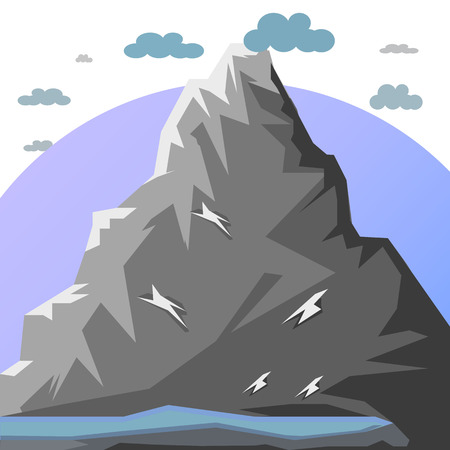 Big gray mountain, Graphic illustration on white background with clouds, vector