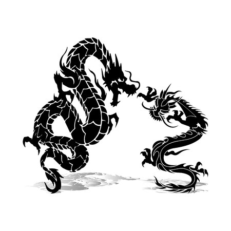 Two black dragons in fight, silhouette on white background, vector Stock Illustratie