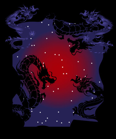 Illustration of negative space dragons at night, silhouettes on black background, vector